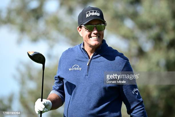 Phil Mickelson reacts after hitting his tee shot on the 6th hole during round one of the Farmers Insurance Open at Torrey Pines North on January 28,...