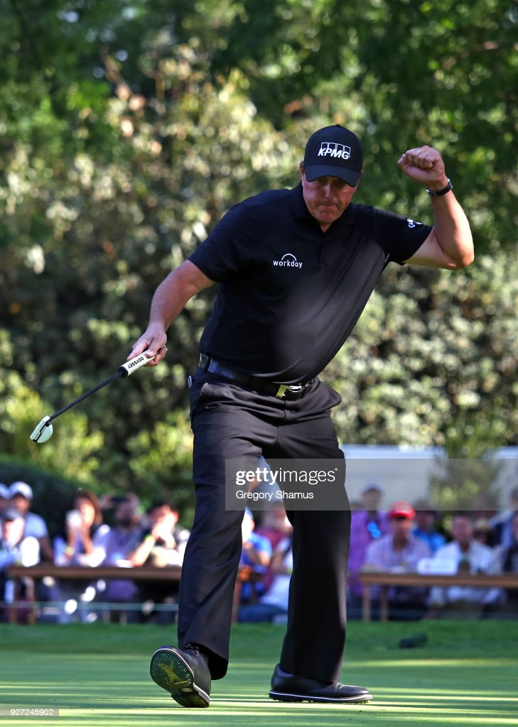 Phil Mickelson reacts after making a birdie on the 16th hole during the final round of World Golf Championships-Mexico Championship at Club De Golf Chapultepec on March 4, 2018 in Mexico City, Mexico.