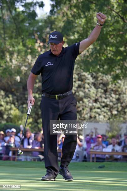 Phil Mickelson reacts after making a birdie on the 16th hole during the final round of World Golf ChampionshipsMexico Championship at Club De Golf...