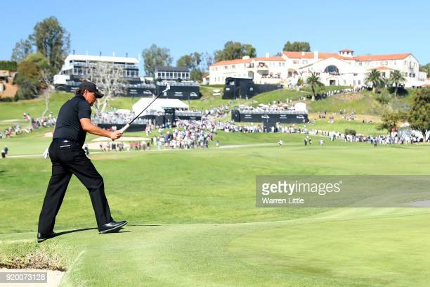 Phil Mickelson reacts after making birdie on the 10th green during the final round of the Genesis Open at Riviera Country Club on February 18 2018 in...
