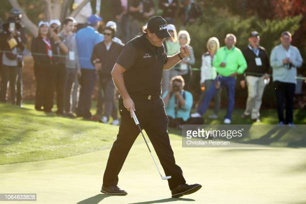 Phil Mickelson reacts on the 13th green during The Match Tiger vs Phil at Shadow Creek Golf Course on November 23 2018 in Las Vegas Nevada