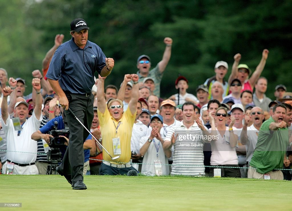Phil Mickelson reacts to a birdie putt on the 16th hole during the third round of the 2006 US Open Championship at Winged Foot Golf Club on June 17, 2006 in Mamaroneck, New York.
