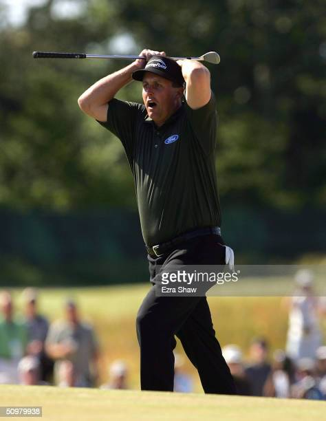 Phil Mickelson reacts to a bunker shot on the seventh hole during the final round of the 104th US Open at Shinnecock Hills Golf Club on June 20 2004...