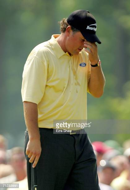 Phil Mickelson reacts to a poor putt on the second green during the final round of the 2006 US Open Championship at Winged Foot Golf Club on June 18...
