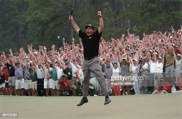 Phil Mickelson Reacts To His Winning Putt During The 2004 Masters Tournament