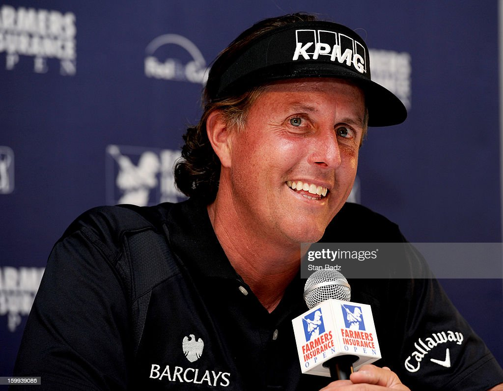 Phil Mickelson reacts to questions during his media interview after his Pro-Am round for the Farmers Insurance Open at Torrey Pines Golf Course on January 23, 2013 in La Jolla, California.