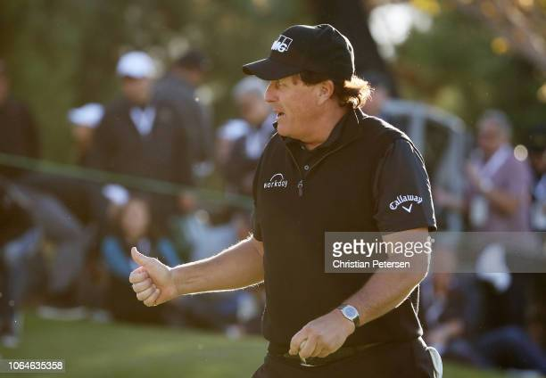 Phil Mickelson recats during The Match Tiger vs Phil at Shadow Creek Golf Course on November 23 2018 in Las Vegas Nevada