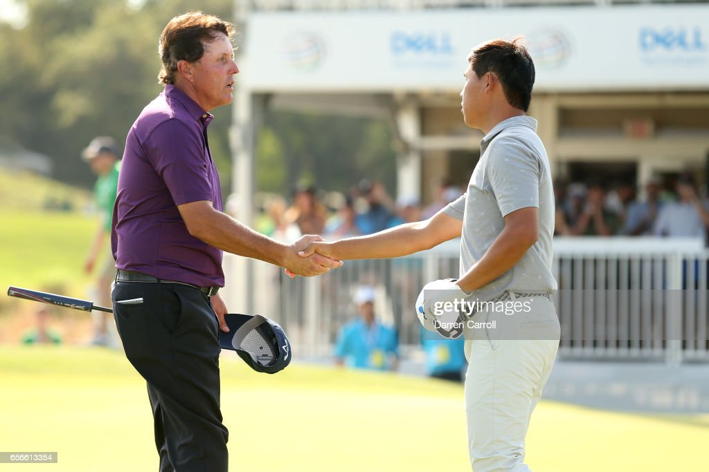 Phil Mickelson shakes hands with Si Woo Kim of Korea after winning on the 15th hole during round one of the World Golf Championships-Dell Technologies Match Play at the Austin Country Club on March 22, 2017 in Austin, Texas.