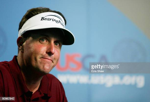 Phil Mickelson speaks at a press conference following the second day of practice at the 104th U.S. Open at Shinnecock Hills Golf Club on June 15,...