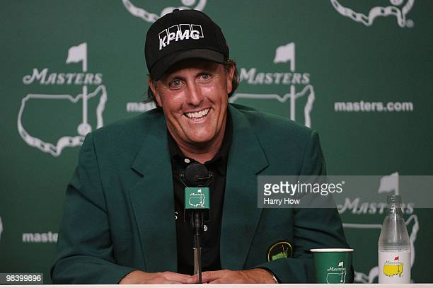 Phil Mickelson speaks to the media after his threestroke victory after winning the 2010 Masters Tournament at Augusta National Golf Club on April 11...