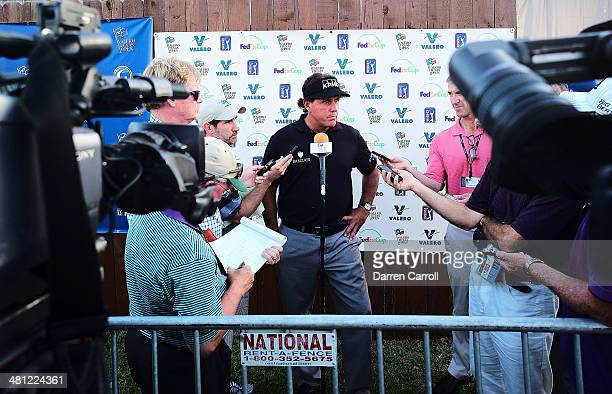 Phil Mickelson speaks to the media during a press conference after finishing his round during Round Two of the Valero Texas Open at TPC San Antonio...