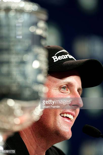 Phil Mickelson speaks to the media next to the Wanamaker Trophy after winning the 2005 PGA Championship with a 4under par 276 on August 15 2005 in...