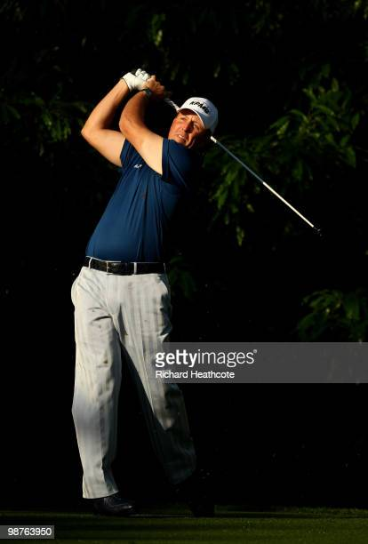 Phil Mickelson tee's off at the 12th during the second round of the Quail Hollow Championship at Quail Hollow Country Club on April 30, 2010 in...
