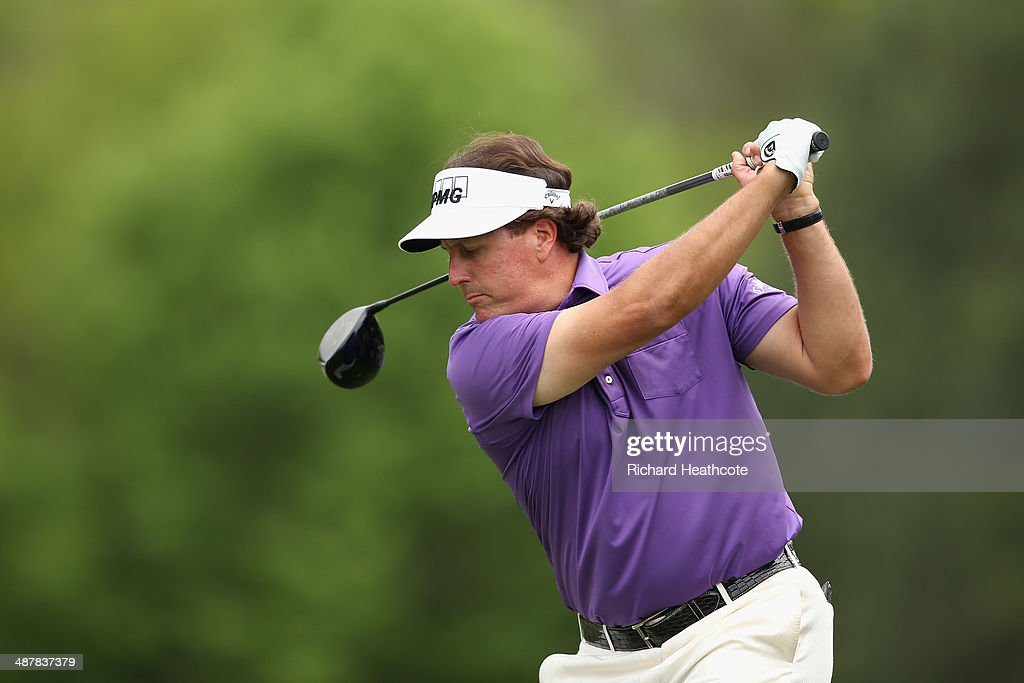 Phil Mickelson tee's off at the 9th during the second round of the Wells Fargo Championship at the Quail Hollow Club on May 2, 2014 in Charlotte, North Carolina.