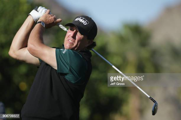 Phil Mickelson tees off during the first round of the CareerBuilder Challenge at La Quinta Country Club on January 18 2018 in La Quinta California