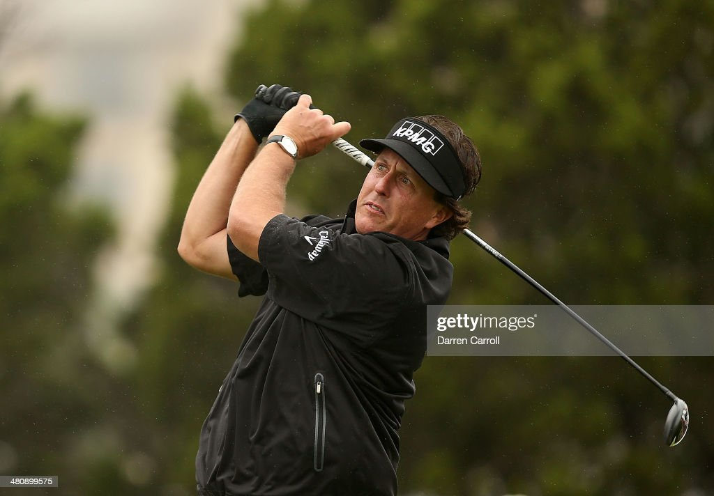 Phil Mickelson tees off on the 10th during Round One of the Valero Texas Open at the AT&T Oaks Course on March 27, 2014 in San Antonio, Texas.