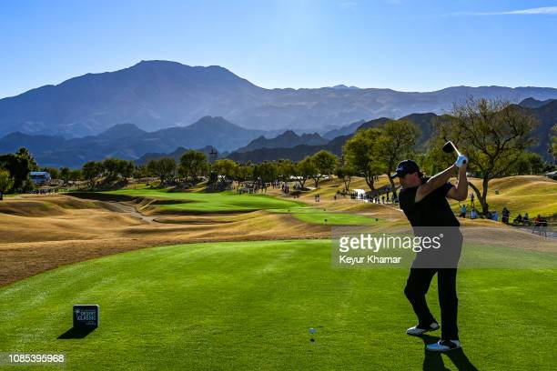Phil Mickelson tees off on the 16th hole during the third round of the Desert Classic on the Stadium Course at PGA West on January 19, 2019 in La...