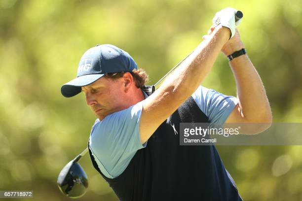 Phil Mickelson tees off on the 8th hole of his match during round five of the World Golf ChampionshipsDell Technologies Match Play at the Austin...