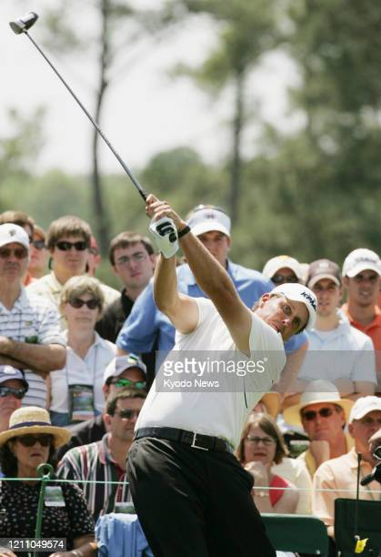 Phil Mickelson tees off on the eighth hole during the second round of the Masters Tournament in Augusta Georgia on April 11 2008