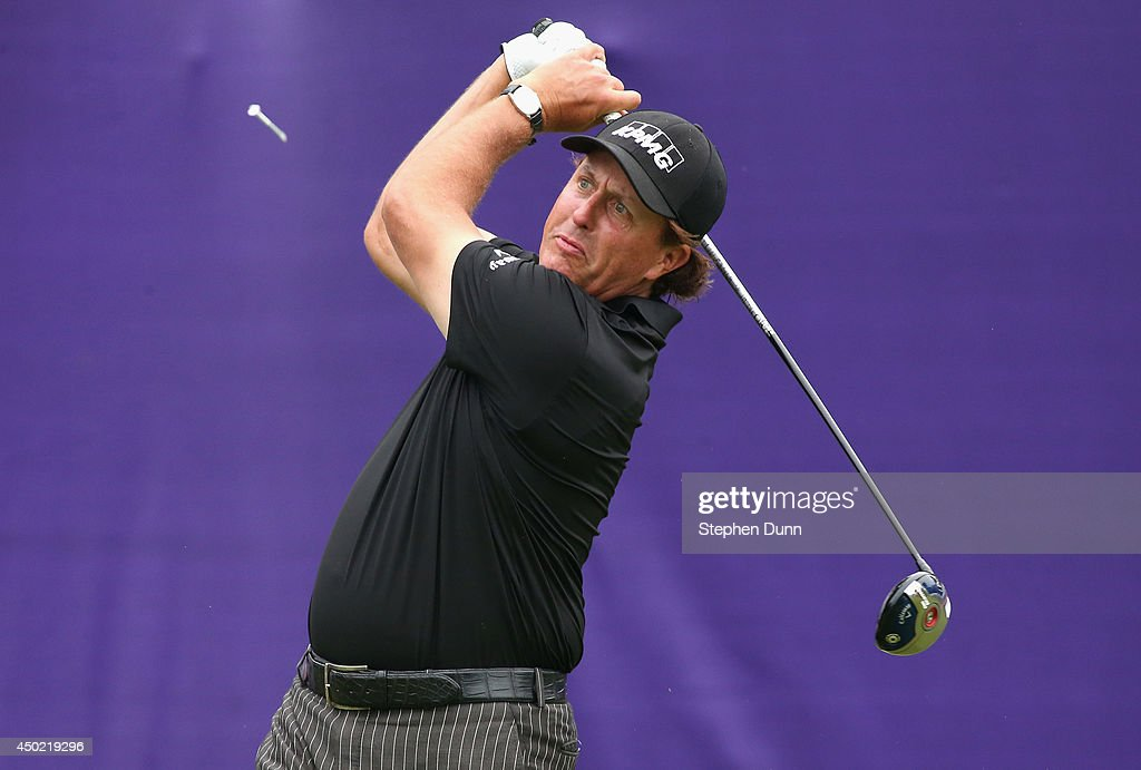 Phil Mickelson tees off on the first hole to start his round during the continuation of the second round of the FedEx St. Jude Classic at the TPC Southwind on June 7, 2014 in Memphis, Tennessee.