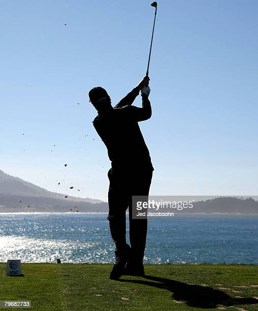Phil Mickelson tees off on the seventh hole during the third round of the ATT Pebble Beach National ProAm at Pebble Beach Golf Links February 9 2008...