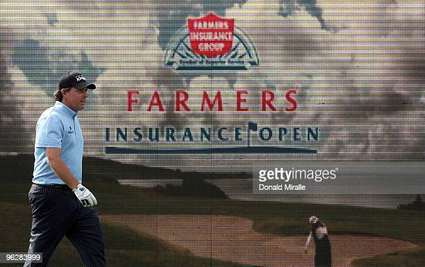 Phil Mickelson walks along the 18th green during the third round of the 2010 Farmers Insurance Open on January 30, 2010 at Torrey Pines Golf Course...