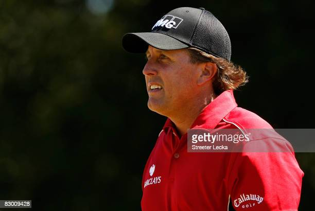 Phil Mickelson walks down the fairway during the first round of THE TOUR Championship at East Lake Golf Club on September 25 2008 in Atlanta Georgia