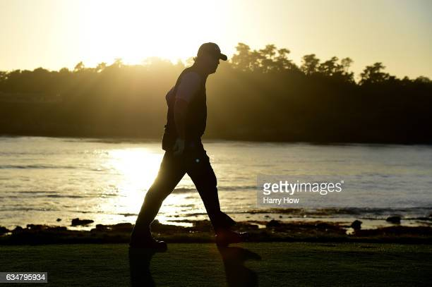 Phil Mickelson walks on the 18th hole during Round Three of the ATT Pebble Beach ProAm at Pebble Beach Golf Links on February 11 2017 in Pebble Beach...