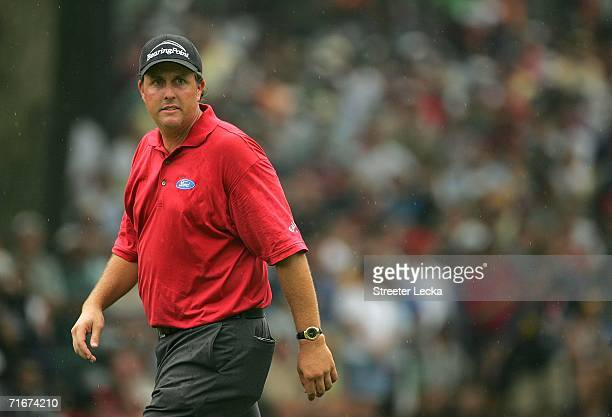 Phil Mickelson walks on the seventh green during the second round of the 2006 PGA Championship at Medinah Country Club on August 18 2006 in Medinah...