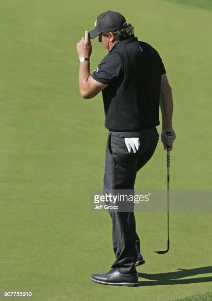 Phil Mickelson walks onto the fifth green during the third round of the CareerBuilder Challenge at the TPC Stadium Course at PGA West on January 20...