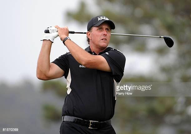 Phil Mickelson watches his tee shot on the fifth hole during the third round of the 108th US Open at the Torrey Pines Golf Course on June 14 2008 in...