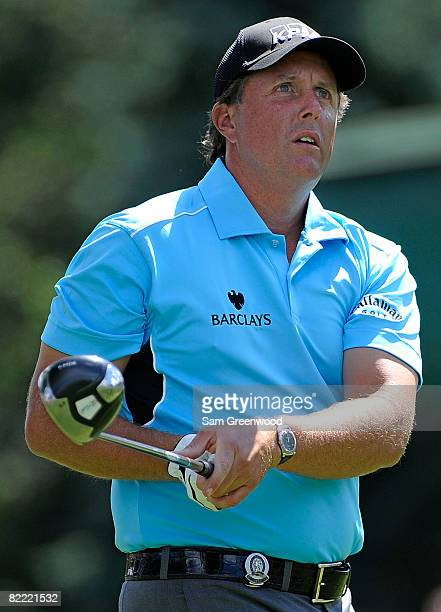 Phil Mickelson watches his tee shot on the sixth hole during round two of the 90th PGA Championship at Oakland Hills Country Club on August 8 2008 in...