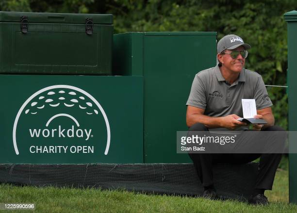 Phil Mickelson watches play on the 15th hole during the first round of the Workday Charity Open at Muirfield Golf Club on July 9 2020 in Dublin Ohio