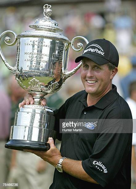 Phil Mickelson with the Wanamaker Trophy after winning the 2005 PGA Championship, Baltusrol Golf Club, Springfield, New Jersey on Monday, August 15,...