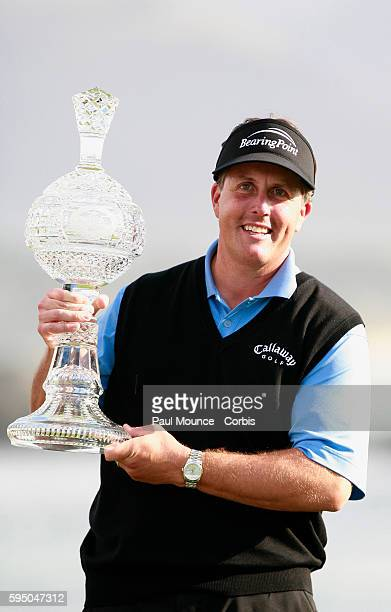 Phil Mickelson with the winner's trophy at the 2007 ATT Pebble Beach ProAm Mickelson won the tournament with a score of 20 under par
