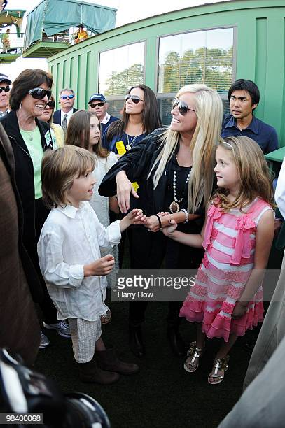 Phil Mickelson's wife Amy his son Evan daughter Amanda and daughter Sophia celebrate his threestroke victory to win the 2010 Masters Tournament at...