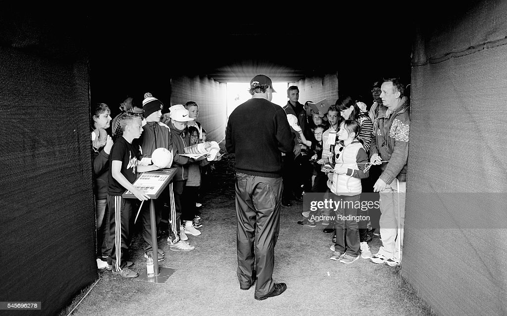 Phil Mickeslon of the USA signs autographs following the third round of the AAM Scottish Open at Castle Stuart Golf Links on July 9, 2016 in Inverness, Scotland.