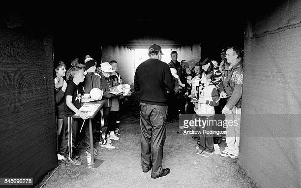 Phil Mickeslon of the USA signs autographs following the third round of the AAM Scottish Open at Castle Stuart Golf Links on July 9 2016 in Inverness...