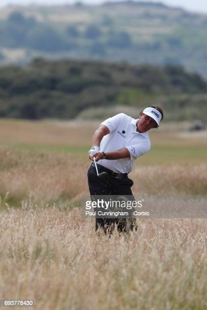 Phil Mickleson chip shot from the rough on the 5th fairway during the Final round of The Open Championship 2013 at Muirfield Golf Club on July 21,...