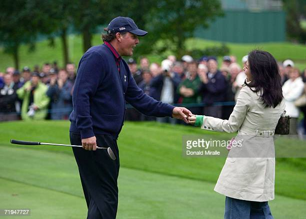 Phil Mickleson of USA gives golf fan Joanne Shannon his ball on the 1st green during the second official practice day of the 2006 Ryder Cup at The K...