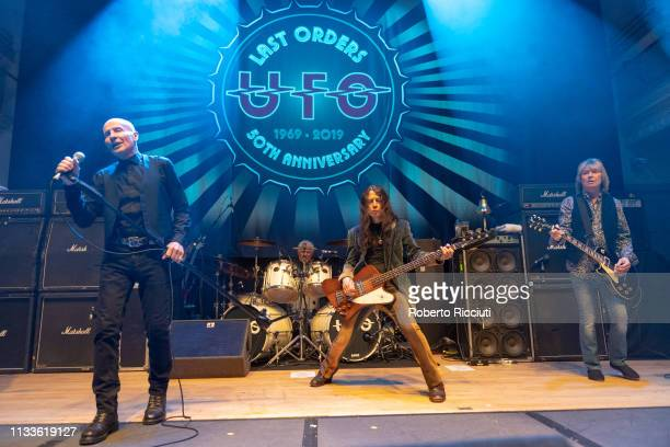 Phil Mogg Andy Parker Rob De Luca and Paul Raymond of UFO perform onstage Last Orders 50th Anniversary tour at The Queen's Hall on March 29 2019 in...