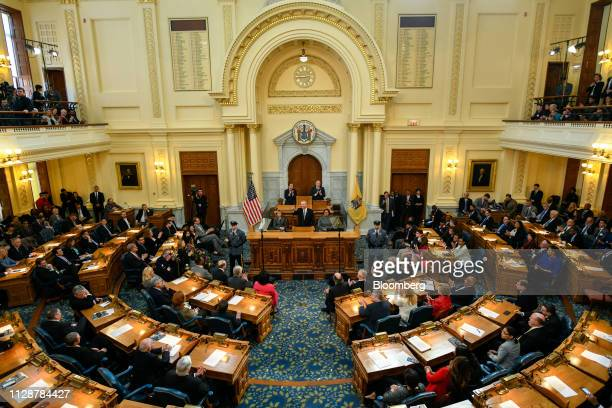 Phil Murphy governor of New Jersey center speaks during a fiscal year 2020 budget address at the New Jersey State Assembly chamber in Trenton New...