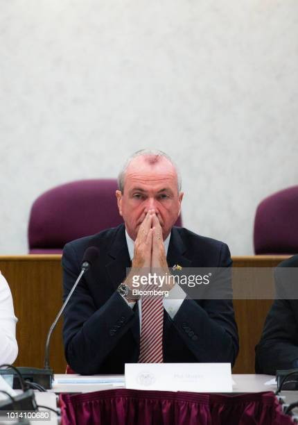 Phil Murphy governor of New Jersey listens during a press briefing at NJ Transit headquarters in Newark New Jersey US on Thursday Aug 9 2018 Murphy...