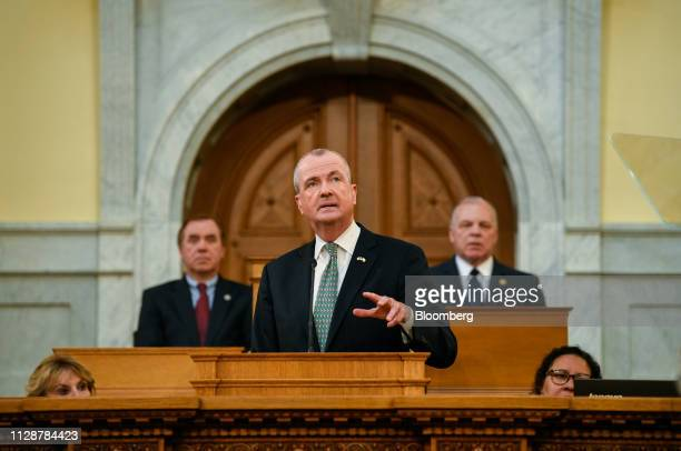 Phil Murphy governor of New Jersey speaks during a fiscal year 2020 budget address at the New Jersey State Assembly chamber in Trenton New Jersey US...