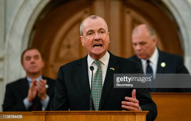 Phil Murphy, governor of New Jersey, speaks during a fiscal year 2020 budget address at the New Jersey State Assembly chamber in Trenton, New Jersey,...