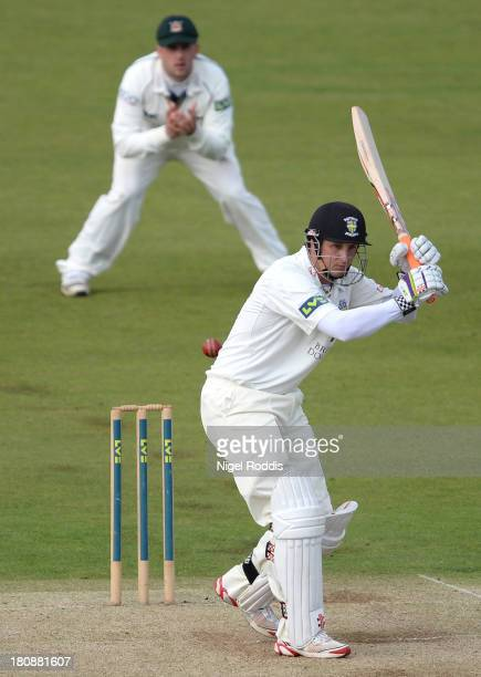 Phil Mustard of Durham watches the ball during day one of the LV County Championship Division One match between Durham and Nottinghamshire at the...