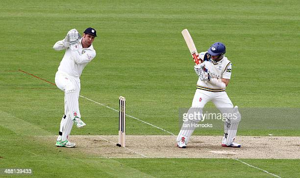 Phil Mustard of Durham with Yorkshire batsman Kane Williamson at the crease during the LV County Championship match between Durham CCC and Yorkshire...