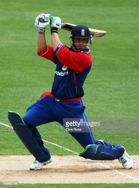 Phil Mustard of England in action during the first National Bank series One Day International match between New Zealand and England at the Westpac...