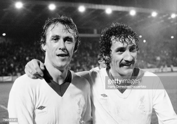 Phil Neal and Terry McDermott of Liverpool after the European Cup 2nd Round 1st Leg tie between Aberdeen and Liverpool at Pittodrie Stadium on...