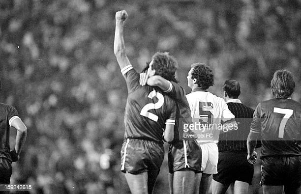 Phil Neal of Liverpool celebrates scoring the opening goal of the match during the UEFA European Cup Final between AS Roma and Liverpool FC held on...